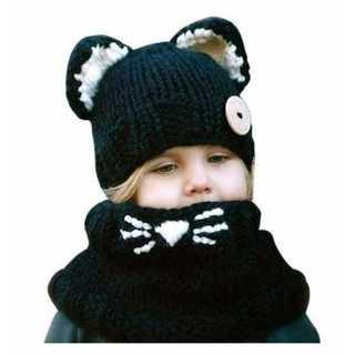 子供 帽子 ネックウェアー イヤーキャット 黒 冬マフラー 可愛い ウール