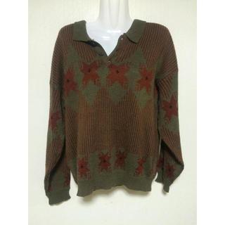 メンズセーター カーキ Lサイズ 長袖 あったかセーター