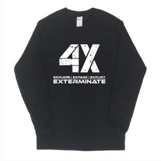 4Xロゴ プリント 長袖 ロングTシャツ git110