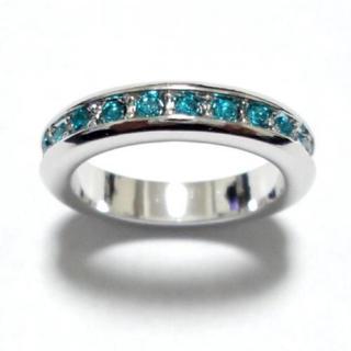 10号 フルエタニティ スワロフスキー ターコイズブルー シルバーリング(リング(指輪))