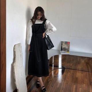ザラ(ZARA)の【人気no.1】ブラックステッチジャンパースカート❤︎韓国ファッション(ロングワンピース/マキシワンピース)
