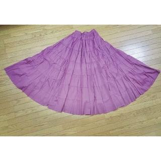 新品 コットンマキシスカート 大きいサイズ パープル ワンピース(ロングスカート)