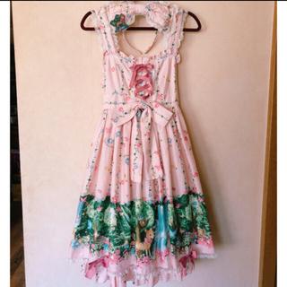 metamorphose temps de fille - 木漏れ日の森ハイウエストジャンパースカート+カチューシャセット (ピンク)