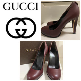 Gucci - GUCCI パープルブラウンレザー   パンプス