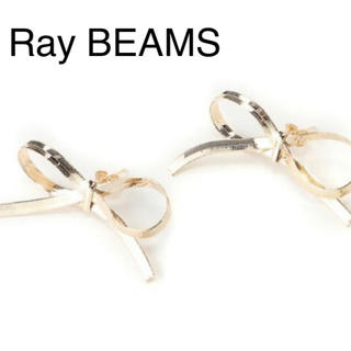 Ray BEAMS - レイビームス ゴールド リボン ピアス メタルリボンピアス