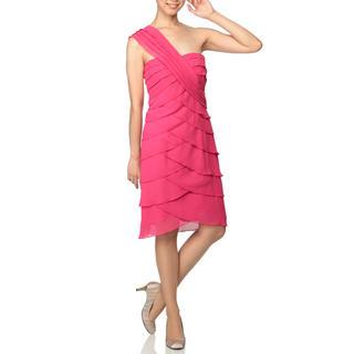 ビーシービージーマックスアズリア(BCBGMAXAZRIA)のBCBG ワンショルダードレス ワンピース ピンク(ひざ丈ワンピース)