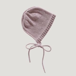 ボンポワン(Bonpoint)の【新品未使用】JAMIE KAY ボンネット 帽子 くすみピンク 6-12m(帽子)