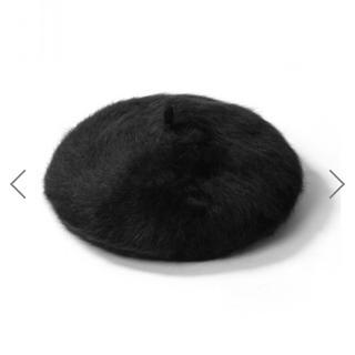 グレイル(GRL)のGRL アンゴラベレー帽 ブラック(ハンチング/ベレー帽)
