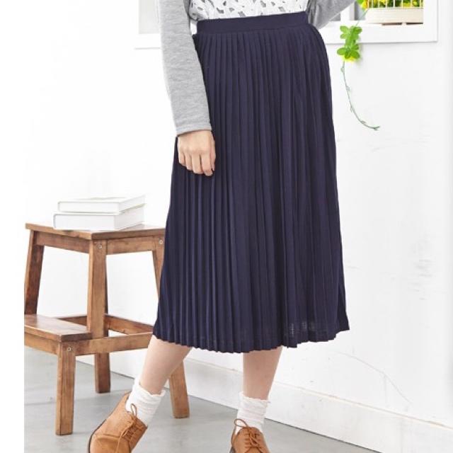 HONEYS(ハニーズ)のスカート ロング ひざ丈 ミモレ プリーツスカート レディース 韓国 ネイビー レディースのスカート(ひざ丈スカート)の商品写真