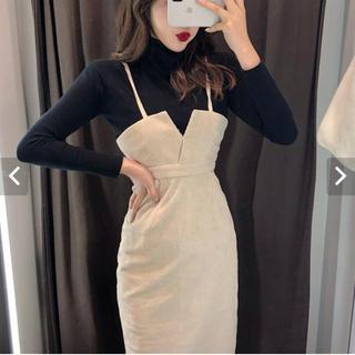 新品未使用 ハイネックニット デザインワンピース 2枚セット 韓国服