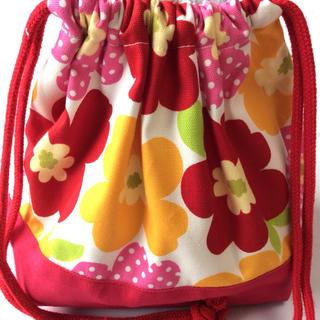 赤黄ピンク水玉フラワー お弁当袋