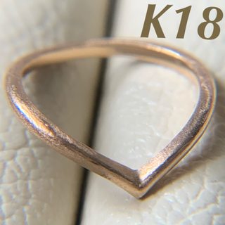 k18 艶消し 高級感ありな V字 綺麗め ピンキーリング ピンクゴールド(リング(指輪))