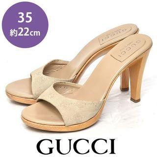 グッチ(Gucci)のグッチ GGキャンバス ウッドヒール サンダル 35(約22cm)(サンダル)