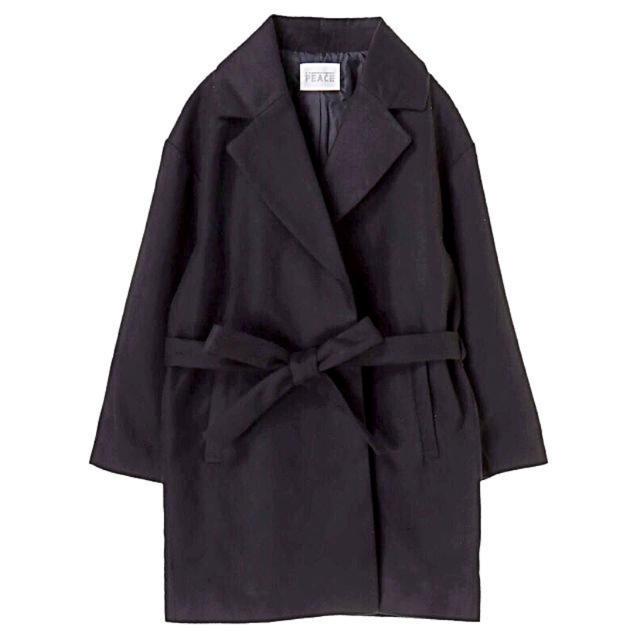 E hyphen world gallery(イーハイフンワールドギャラリー)の新品 イーハイフンワールドギャラリー ガウンコート ブラック レディースのジャケット/アウター(チェスターコート)の商品写真
