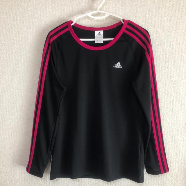 adidas(アディダス)の☆美品 adidas 長袖Tシャツ ブラック+ピンク F フリーサイズ レディースのトップス(Tシャツ(長袖/七分))の商品写真