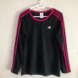 アディダス(adidas)の☆美品 adidas 長袖Tシャツ ブラック+ピンク F フリーサイズ(Tシャツ(長袖/七分))
