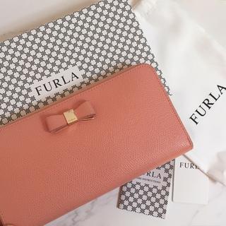 Furla - FURLA ラウンドファスナー長財布 リボンデザイン ピンク