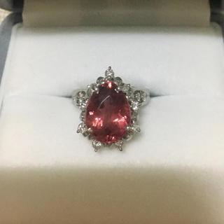 ダイヤモンド×ピンクトルマリン リング Pt900 0.23ct 9.3g(リング(指輪))
