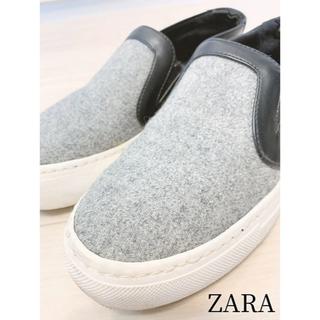 ZARA - 【大特価】人気完売商品!ZARA 異素材 コンビ 厚底 スリッポン スニーカー