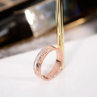 ステンレス ローズゴールド 指輪 婚約 エナメル アトラス ダイヤ(リング(指輪))