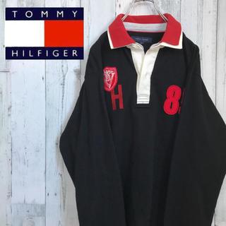トミーヒルフィガー(TOMMY HILFIGER)の【激レア】トミーヒルフィガー☆ワンポイント刺繍ロゴポロシャツビックシルエット古着(ポロシャツ)
