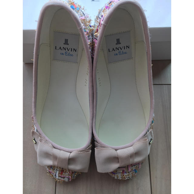 LANVIN en Bleu(ランバンオンブルー)のLANVIN en Bleuランバンオンブルー☆*°ピンクツイードバレエシューズ レディースの靴/シューズ(バレエシューズ)の商品写真