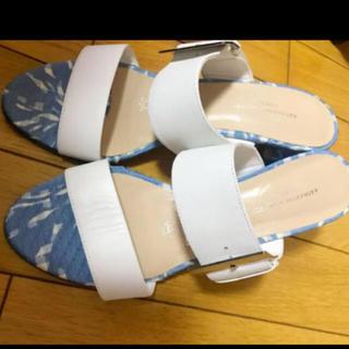 キャサリンハムネット(KATHARINE HAMNETT)のローヒールサンダル KATHARINE HAMNETT RONDON♡ブルー青靴(サンダル)
