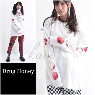 FUNKY FRUIT - 【DrugHoney】毒蜜リンゴ袖プリント長袖カットソー ドラッグハニー