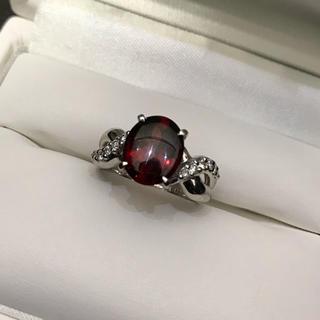 美品 Pt900  ガーネット ダイヤモンド  プラチナ リング 指輪(リング(指輪))