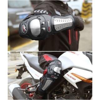 バイク用 ステンレス剛 プロテクター 肘膝4点セット メタル レザー