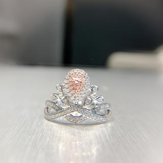 新作ライトピンクダイヤモンド王冠指輪(リング(指輪))