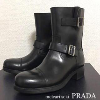 新品 箱付き PRADA プラダ メンズ エンジニアブーツ ショートブーツ 黒(ブーツ)