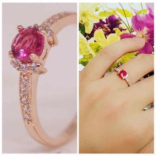 指輪 ゴールド 高級 CZ 赤ワイン色 彩石 一粒 リング gu1338e(リング(指輪))