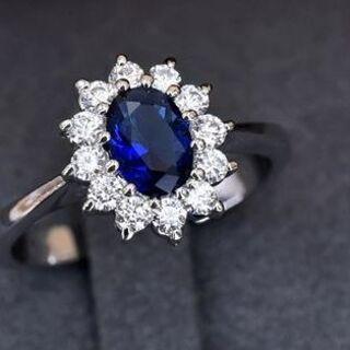 18KRGPプラチナ高級CZフラワーブルー彩石上品リング yu1013e(リング(指輪))