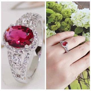指輪18KRGPプラチナ高級CZ赤ワイン色彩石リングyu1058e(リング(指輪))