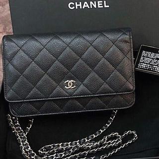 CHANEL - Chanel シャネル チェーン ウォレット キャビアスキン