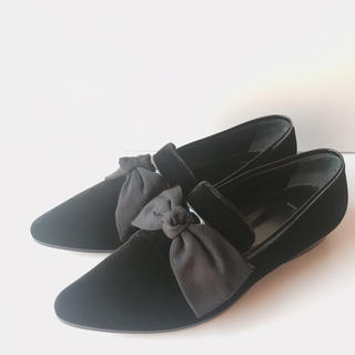 ドゥロワー(Drawer)のドゥロワー セレクト サンローランのベルベットフラットシューズ 37(ローファー/革靴)