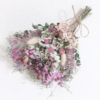ドライフラワースワッグ✿ローズスプレー薔薇*たっぷりピンク33cm