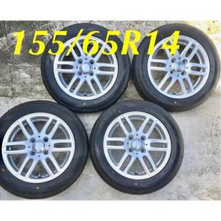DUNLOP - 155.65.14 新品タイヤ と 中古ホイール と 新品ナット