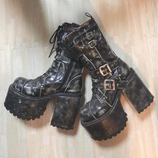 ヨースケ(YOSUKE)の専用 YOSUKE 編み上げ 厚底ブーツ 使用1回 美品(ブーツ)