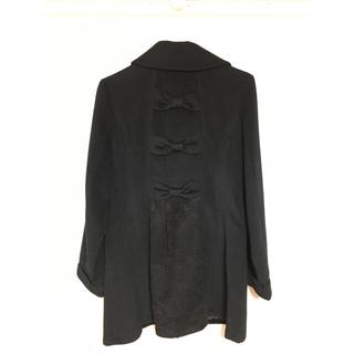 【美品】アクシーズファム ロングコート 黒 M バックスタイル可愛い フリフリ