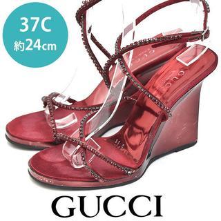 グッチ(Gucci)のグッチ ラインストーン ストラップ サンダル 37C(約24cm)(サンダル)