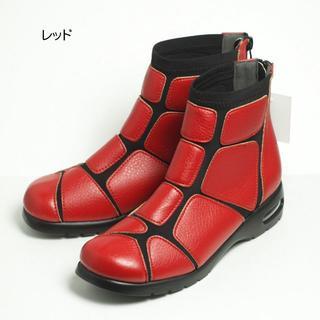 ショートブーツ レディース ブーツ 24.0cm レッド Lサイズ(ブーツ)