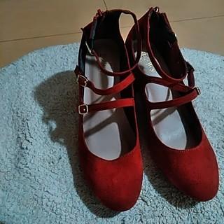 ベルベット調のオレンジの靴(ハイヒール/パンプス)