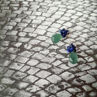 agete - 14kgf♥Serpentine&lapis lazuli charm