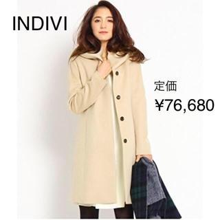 インディヴィ(INDIVI)の新品 INDIVI ボリューム衿カシミヤ混コート ベージュ 48 ¥76,680(ロングコート)