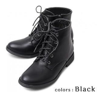 【ブラック】ショートブーツ レースアップブーツ レディースブーツ ブーツ(ブーツ)