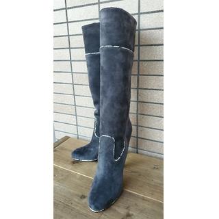 クリスチャンルブタン(Christian Louboutin)の新品未使用ルブタン ブーツ ロング スエード グレー  9㎝ヒール 38.5㎝(ブーツ)