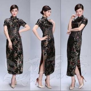 龍と鳳凰柄刺繍 半袖 ロング丈 チャイナドレス (L、XL、2XL、3XL)(ロングドレス)