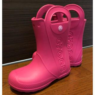 クロックス(crocs)の新品◆crocsクロックス◆長靴 キッズ◆ピンク 21cm◆送料無料〜(レインブーツ/長靴)